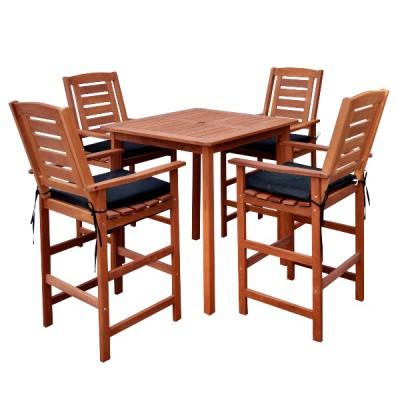 Bàn ghế gỗ ngoài trời dành cho 4 người