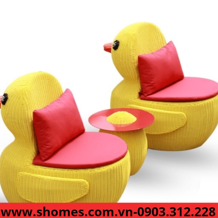 bàn ghế nhựa mây vịt vàng giá tốt