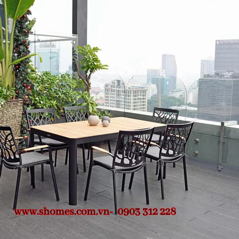 bộ bàn ghế caafe gỗ tp - HCM