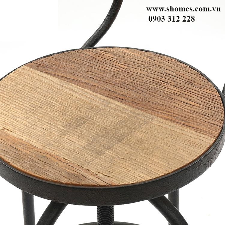 Ghế khung sắt mặt gỗ