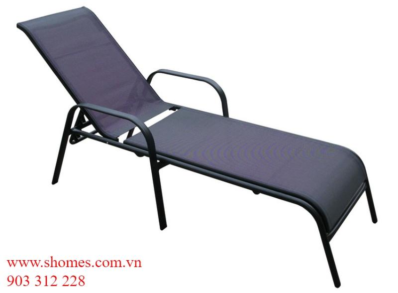 ghế tắm nắng khung sắt lưới textiline