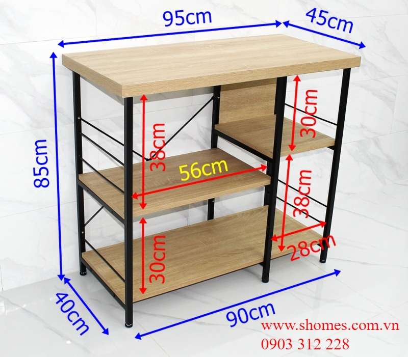 kệ bếp gỗ khung sắt
